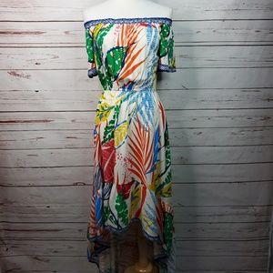 Flying Tomato Linen Off Shoulder High Low Dress